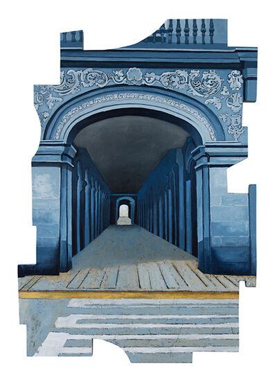 Cecilia Villanueva, 'Walk into the Light, Mexico City Architecture, blue, white and yellow post modern cityscape, conceptual art, downtown tunnel', 2019