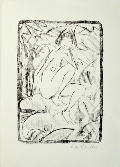 Otto Mueller, 'Seated Woman, Surrounded by Foliage', 1923