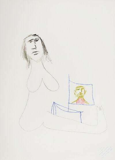 Sidney Nolan, '(Woman with flag - Study for sculpture)', 1980s