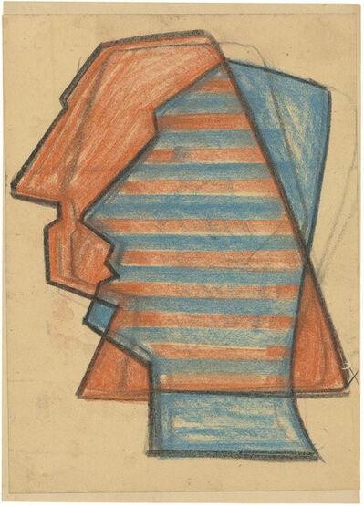 Hermann Glöckner, 'Roter und blauer Profilkopf, schematisch', 1952