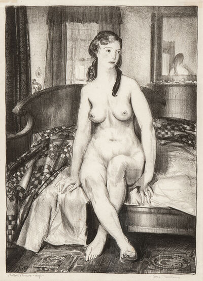 George Wesley Bellows, 'Morning, Nude on Bed, Second Stone', 1921