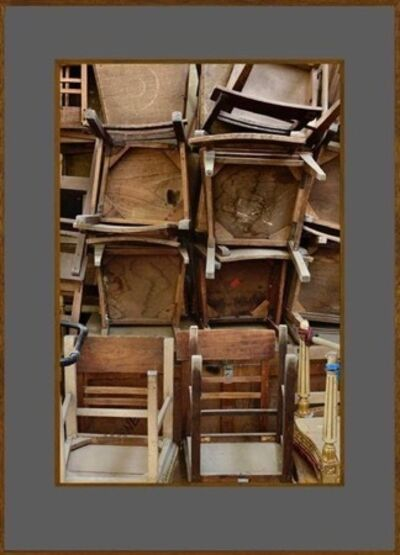 João Penalva, 'Worn out mid-twentieth-century dressing room chairs waiting to be removed from a theatre, facing their replacements on the opposite wall', 2020