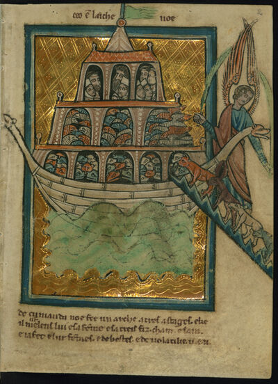 William de Brailes, 'The Animals Enter Noah's Ark (Genesis 6:13-7:16)', ca. 1250