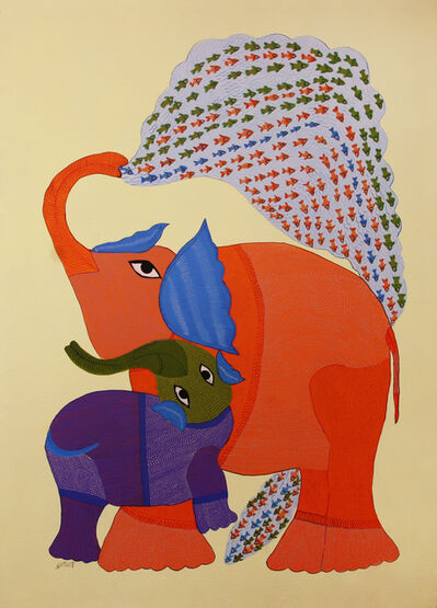 Durgabai Vyam, 'Elephant and Sea', 2015