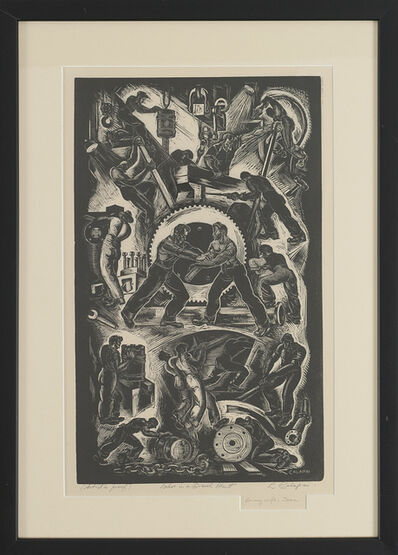 """Letterio Calapai, '""""Labor in a Diesel Plant""""', 1940"""