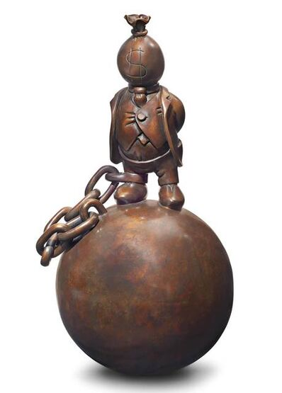 Tom Otterness, 'Money bag man with ball and chain', 1995