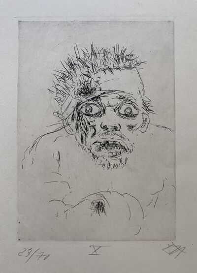 "Otto Dix, 'Wounded Man Fleeing (Battle of the Somme 1916), Plate 10 from ""der Krieg""', 1924"