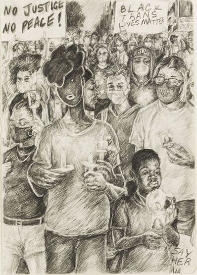 Anthony Peyton Young, 'No Justice, No Peace (Study for United)', 2020