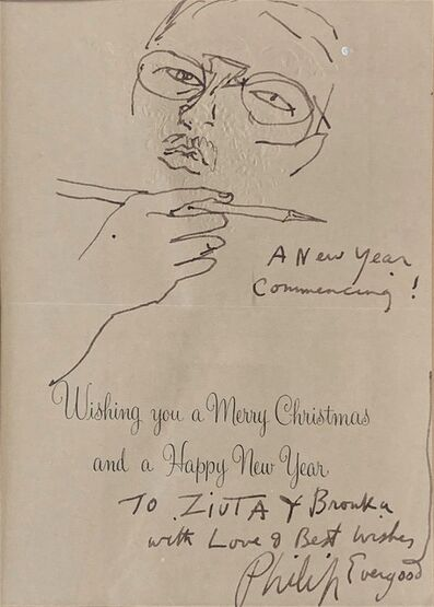 Philip Evergood, 'Self Portrait with Holiday Wishes [on a Holiday Card]', Unknown