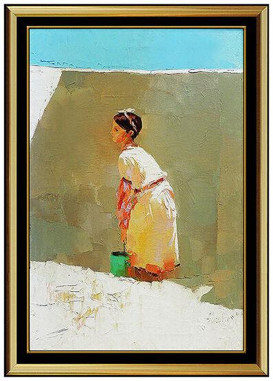 Nicola Simbari, 'NICOLA SIMBARI Large Original Oil Painting On Canvas Signed Female Portrait Art', 20th Century