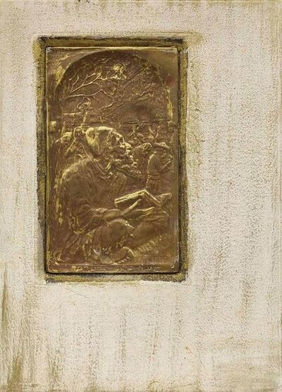 Mordechai Avniel, 'Kotel Ha'Maaravi (Western Wall), Sitting in Prayer, Judaica Embossed Copper', 20th Century
