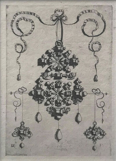 Daniel Mignot, 'Pendant with two Double Crosses surrounded by six large and many small Table-stones and eleven pearls, below two earrings, the left one with an angel's head, the right one with five small table-stones set in the form of a cross.', 1595