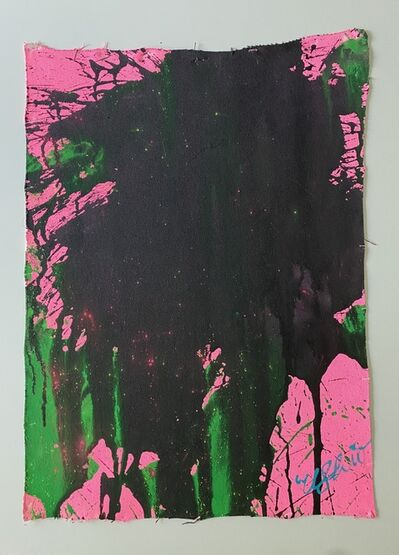 Ushio Shinohara, 'Emerald Green and Black on Pastel Pink', 2012