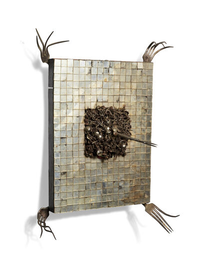 Lucas Samaras, 'Wall Piece – 4 Forks at Corners with Tacks and Instrument Protruding from Center (from: Room #1)', 1964