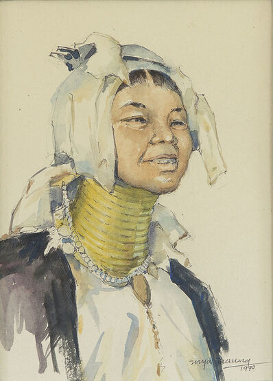 Mya Thaung, 'Lady With White Head Dress And Neck Rings', 1990