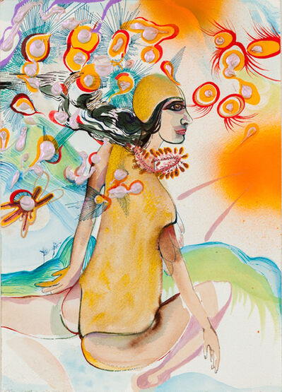 Rina Banerjee, 'Where I came from was water and salt and this is where I will go with bangles to tackle my human opponents and tangles of hair that snaked out of air her tongue and yours will know when to play with water, mountain and or air this no human laws shall come to rule', 2015