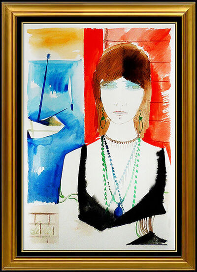 Charles Levier, 'Charles Levier Original Gouache Painting Signed Female Portrait French Artwork', 20th Century