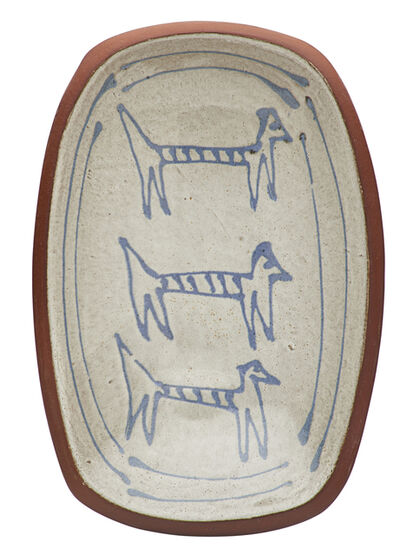 Antonio Prieto, 'Footed dish with stylized cats, California'