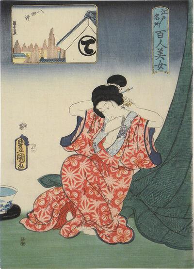 Utagawa Toyokuni III (Utagawa Kunisada), 'One Hundred Beauties from Famous Places in Edo: Hatchobori', 1857