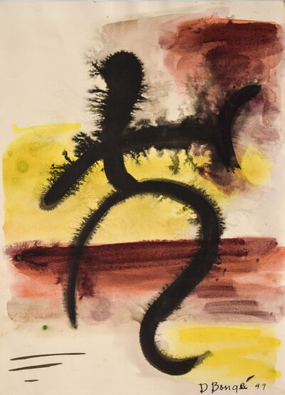 Dusti Bongé, 'Untitled (Black Abstract Composition with Red and Yellow)', 1949