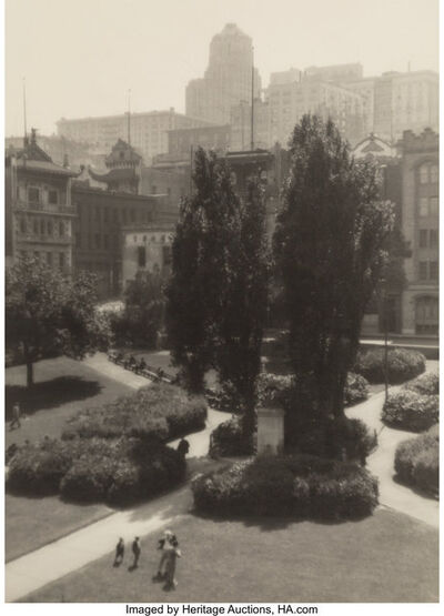 William Edward Dassonville, 'Eucalyptus #2; Portsmouth Square, San Francisco; and Russ Building, San Francisco', 1912, 1920, circa 1920