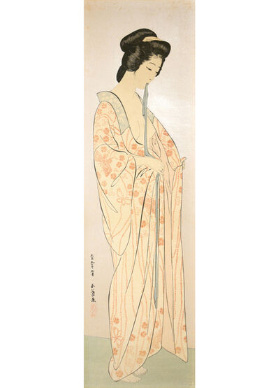 Goyo Hashiguchi, 'Woman with Sash in Nagajuban', 1920