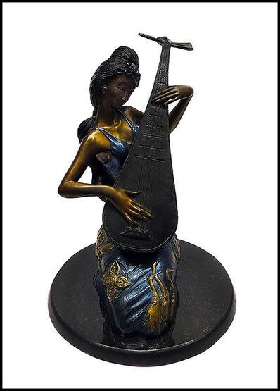 Jiang Tiefeng, 'JIANG TIE FENG Rare Original Pipa Melody BRONZE SCULPTURE Signed Chinese Artwork', 1970-1989