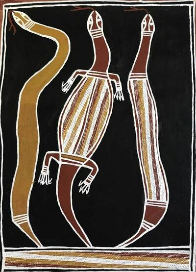 David Daymirringu Malangi (1927-1999), 'Goanna, Mangrove Snake and Death Adder', ca. 1995