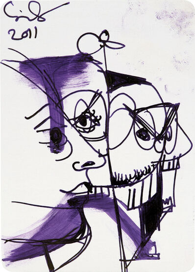George Condo, 'Untitled (Mental States playing card drawing)', 2011