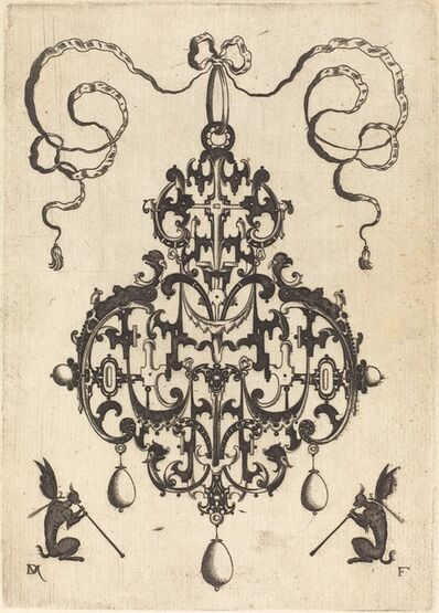 Daniel Mignot, 'Large Pendant, Two Winged Fantasy Creatures with Trumpets at Bottom', 1596