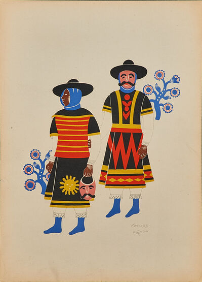 Carlos Merida, 'Two Men From Huixquilucan at the Fiesta of the Huehuenches', 1940
