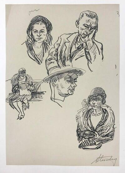 harry sternberg, 'Five Studies (Man with Head on Hand)', 1930