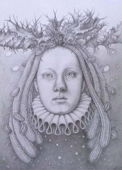 Chikako Okada, 'Infanta Nocturna / graphite drawing on paper, woman's head with succulents ', 2019
