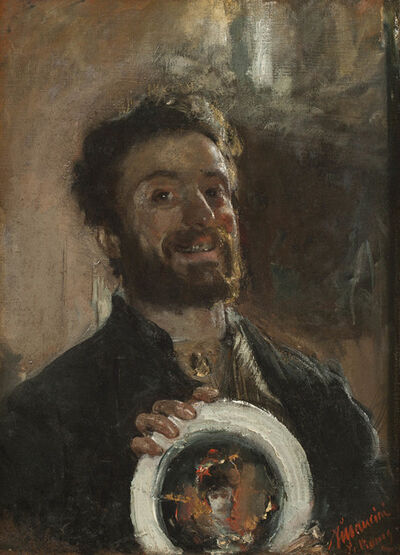Antonio Mancini, 'Self Portrait with Plate', ca. 1882-83