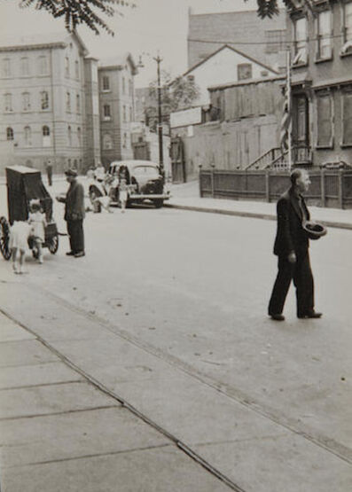 Helen Levitt, 'Brooklyn , Man Crossing Street with Hat', 1940