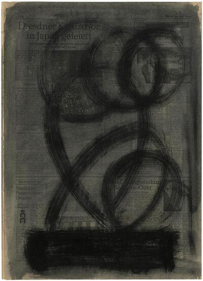 Hermann Glöckner, 'Schwarze Pinselzüge über dunklem Balken, vor grauem Grund', 1979
