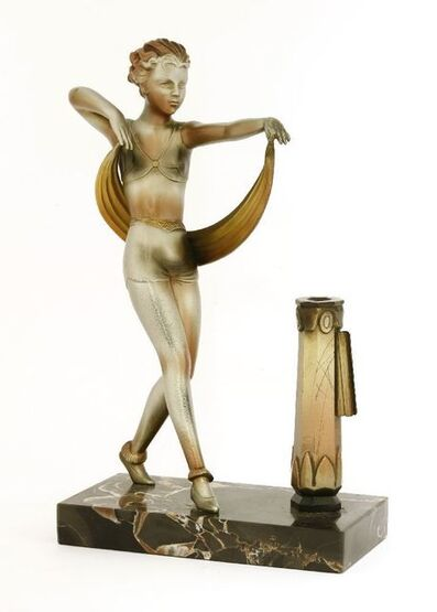 After Lorenzl, 'A spelter and cold painted table lighter'