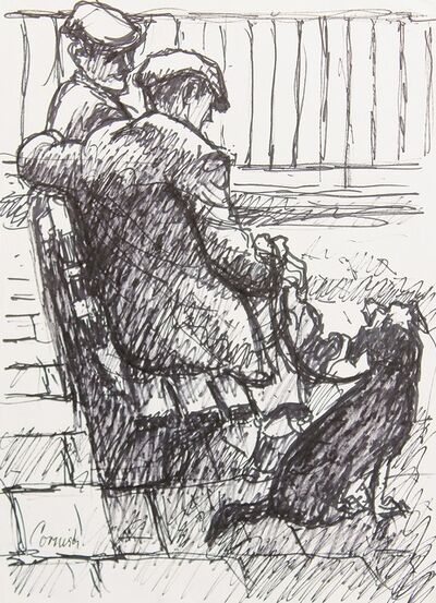 Norman Cornish, 'Two men on bench with dog ', ca. 1970