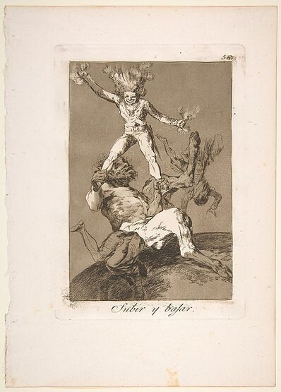 Francisco de Goya, 'Plate 56 from 'Los Caprichos': To rise and to fall (Subir y bajar.)', 1799