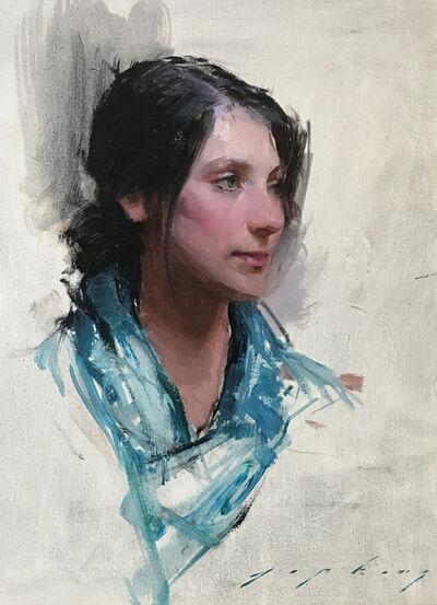 Jeremy Lipking, 'Woman in the Blue Scarf'