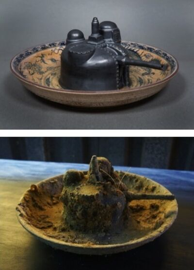 Bui Cong Khanh, 'Wartime Dinner. Pair of hand-painted porcelain plates, before and after ocean-submersion', 2013