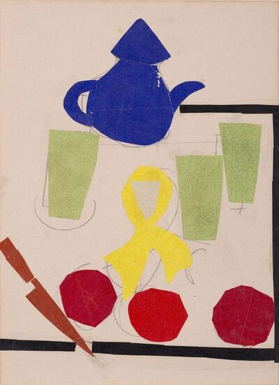 Benode Behari Mukherjee, 'Still life with - paper collage Kettle', 1965