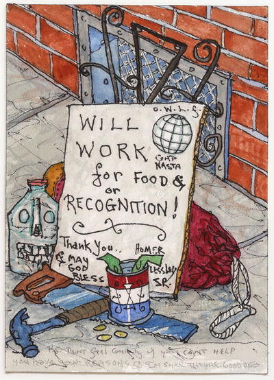 William T. Wiley, 'Will Work for Food', 1999
