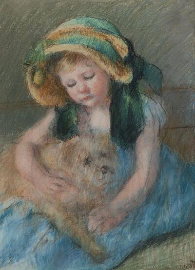 Mary Cassatt, 'Sara, dans un bonnet avec Streamers Loose, et son chien ou La fillette au chien', ca. 1901