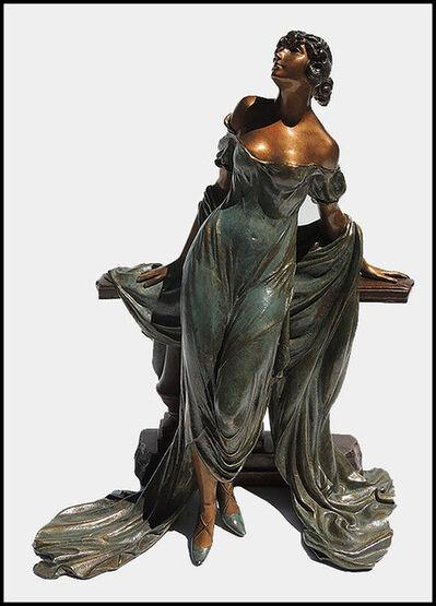 Louis Icart, 'Louis Icart Rare Werther Bronze Sculpture Deco Artwork Rosenbaum Female Etching', 1986