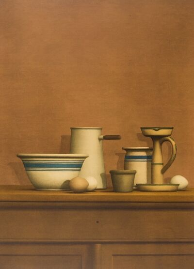 William Bailey, 'Still Life with Eggs, Candlestick and Bowl', 1975