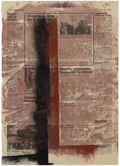 Hermann Glöckner, 'Zwei rechtwinklige Vertikale in Braun und Schwarz, auf rotem Grund', 1976