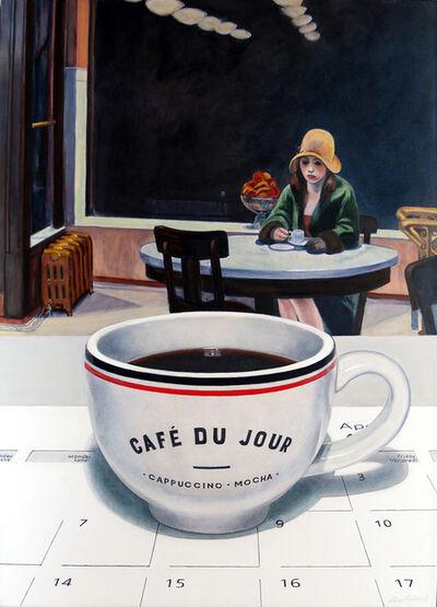 Alvin Richard, 'Un café du jour la nuit à l'Automat (un hommage à Edward Hopper)', 2020