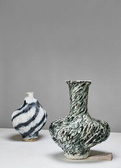 Johannes Nagel, 'blue lines round    -   fine black flurry', 2020