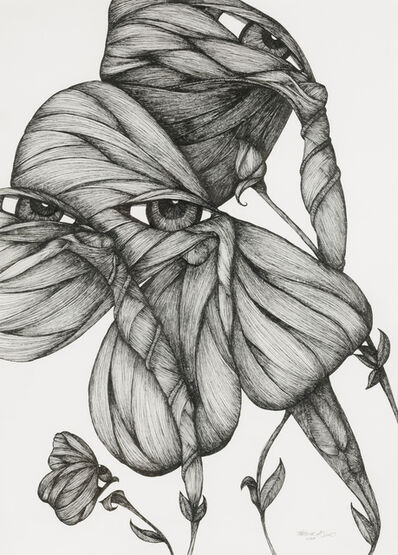 Katherine Filice, 'Garden Party III - Pen and Ink Drawing of Female Figure on Paper- Butterfly Wings & Surrealism', 2018